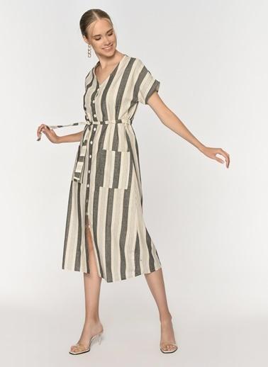 Loves You Önden Düğmeli Çizgili Keten Karışımlı Elbise Antrasit